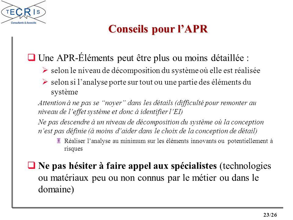 Conseils pour l'APR Une APR-Éléments peut être plus ou moins détaillée : selon le niveau de décomposition du système où elle est réalisée.
