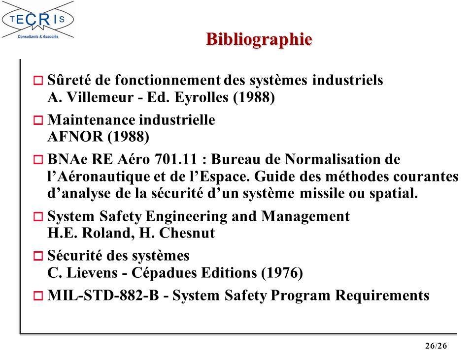 Bibliographie Sûreté de fonctionnement des systèmes industriels A. Villemeur - Ed. Eyrolles (1988) Maintenance industrielle AFNOR (1988)