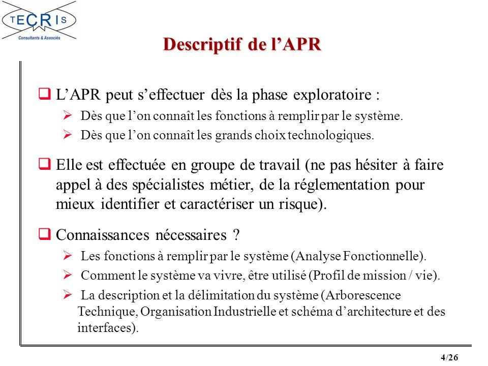 Descriptif de l'APR L'APR peut s'effectuer dès la phase exploratoire :