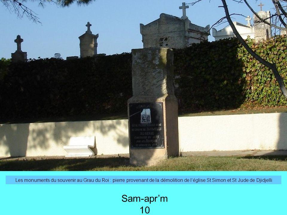Les monuments du souvenir au Grau du Roi : pierre provenant de la démolition de l'église St Simon et St Jude de Djidjelli