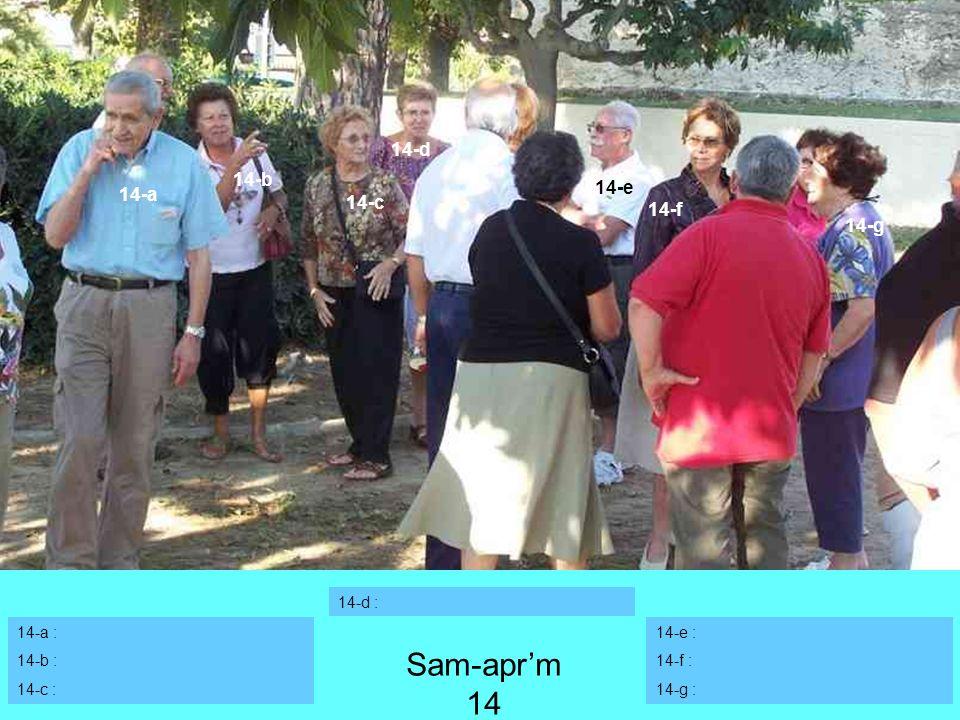 Sam-apr'm 14 14-d 14-b 14-e 14-a 14-c 14-f 14-g 14-d : 14-a : 14-b :