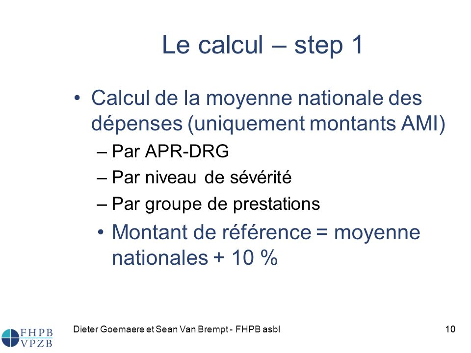 Le calcul – step 1 Calcul de la moyenne nationale des dépenses (uniquement montants AMI) Par APR-DRG.
