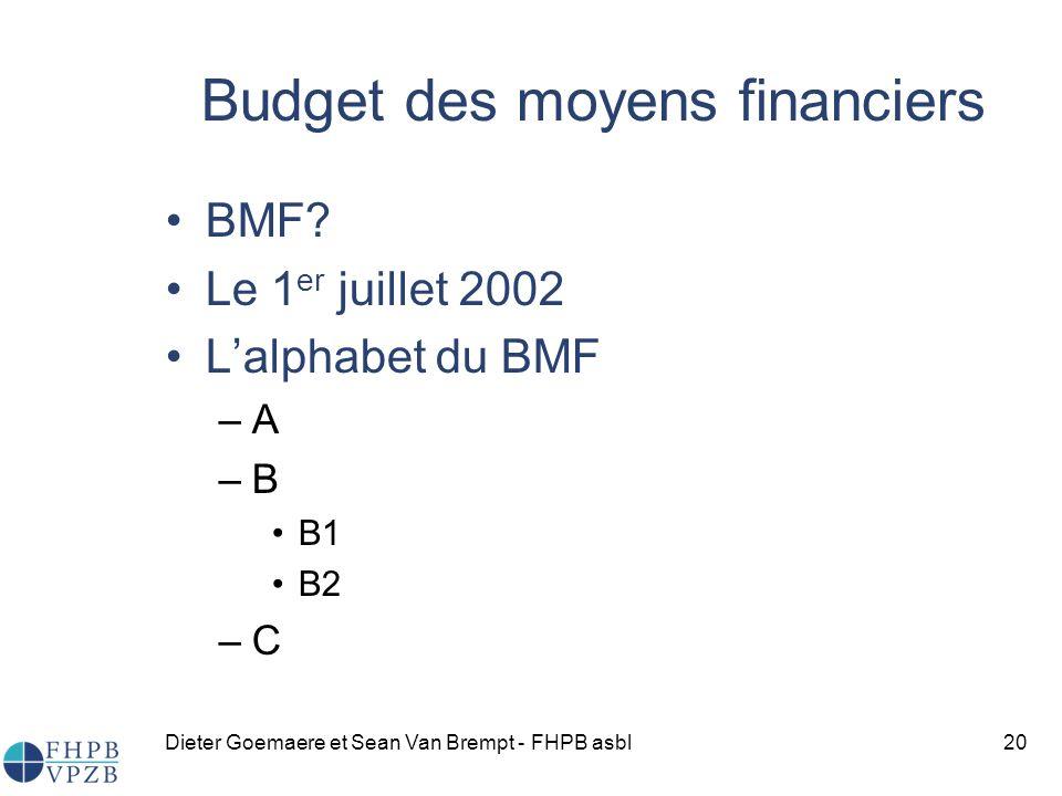 Budget des moyens financiers