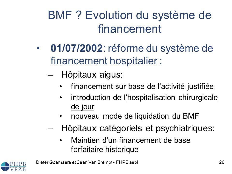 BMF Evolution du système de financement