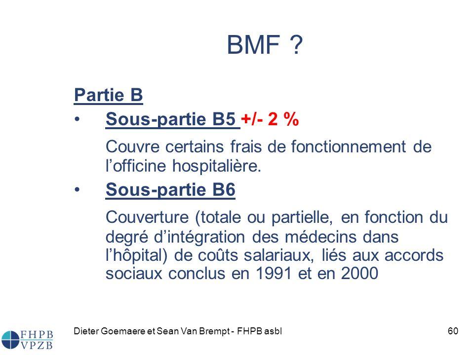 BMF Partie B. Sous-partie B5 +/- 2 % Couvre certains frais de fonctionnement de l'officine hospitalière.