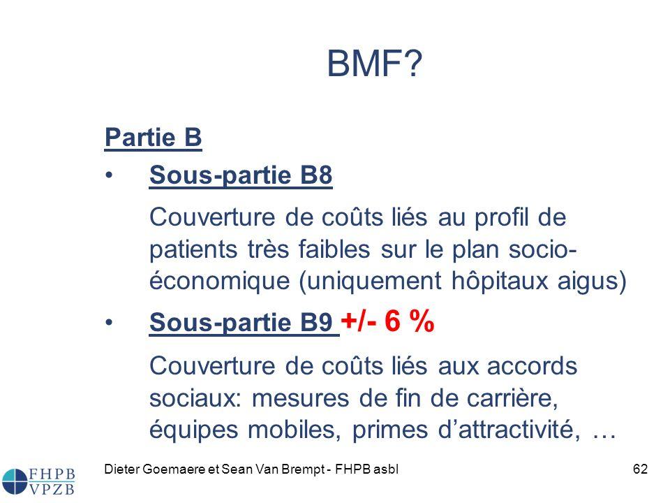 BMF Partie B. Sous-partie B8. Couverture de coûts liés au profil de patients très faibles sur le plan socio-économique (uniquement hôpitaux aigus)