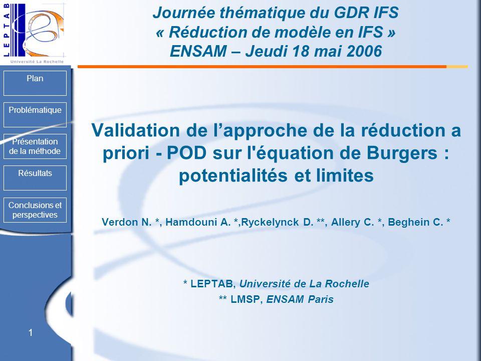 Journée thématique du GDR IFS « Réduction de modèle en IFS » ENSAM – Jeudi 18 mai 2006