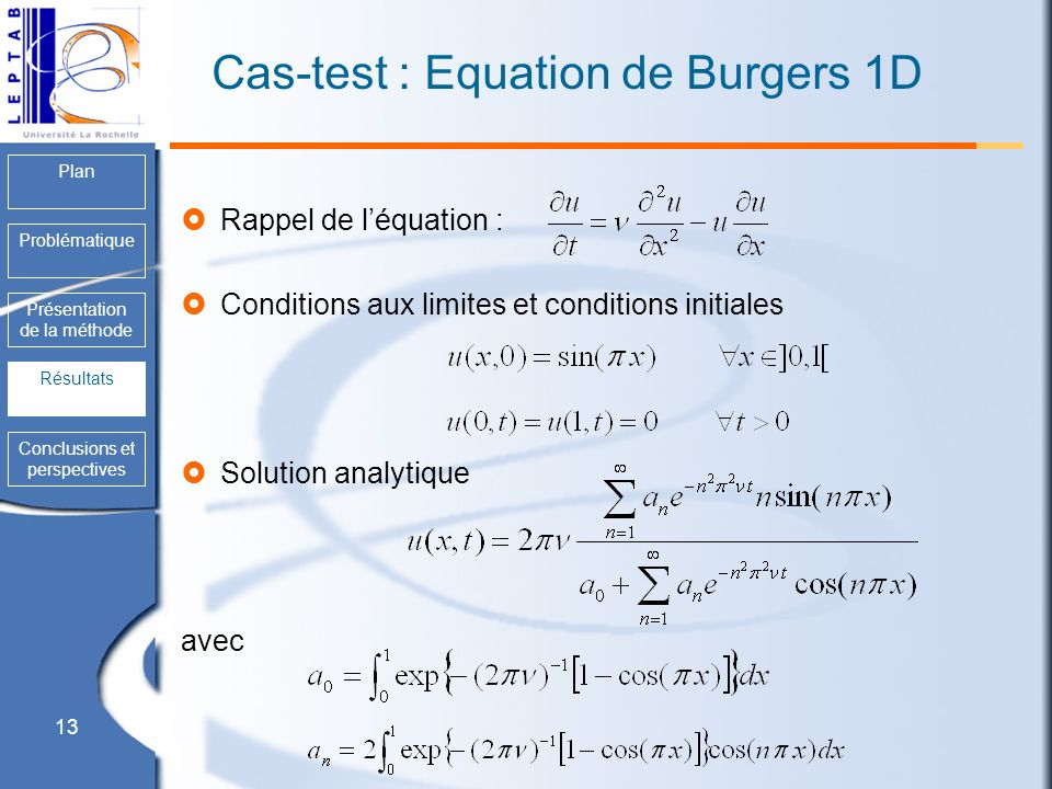 Cas-test : Equation de Burgers 1D