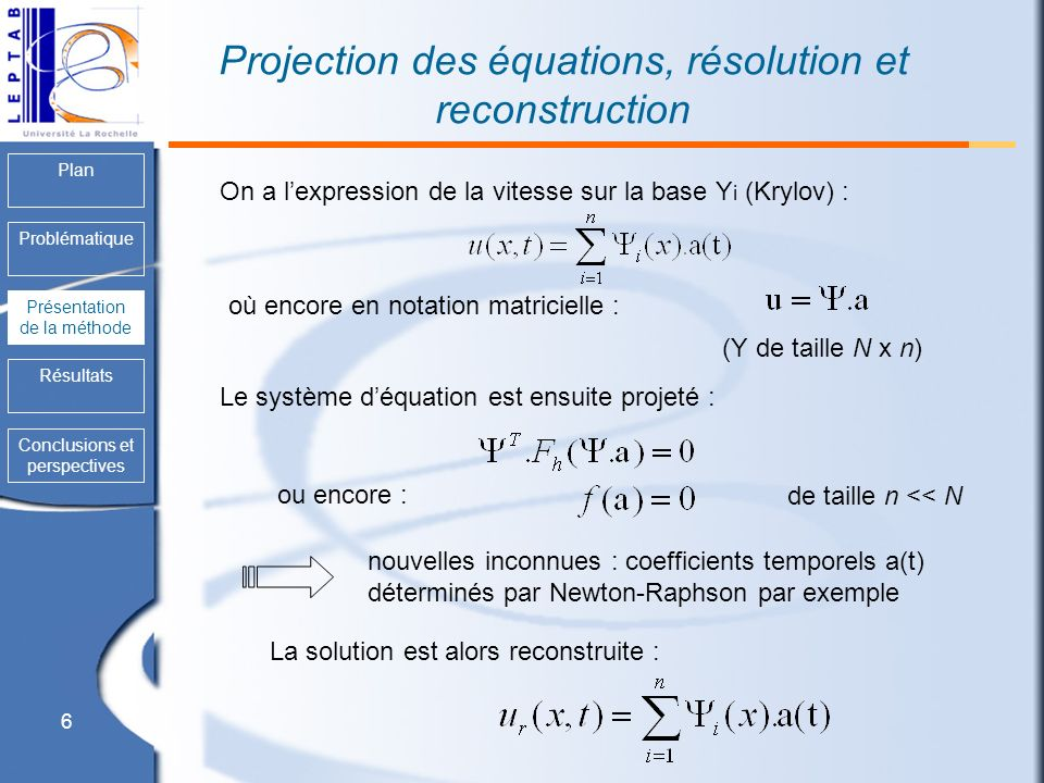 Projection des équations, résolution et reconstruction