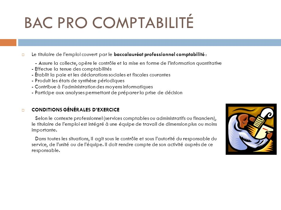 BAC PRO COMPTABILITÉ Le titulaire de l'emploi couvert par le baccalauréat professionnel comptabilité :