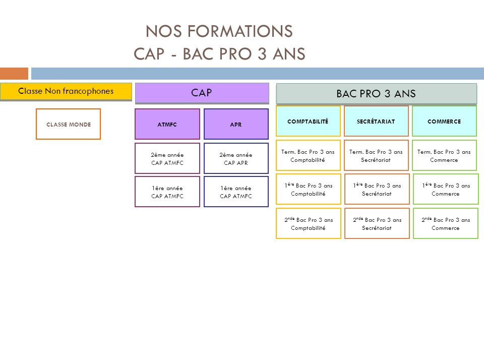 NOS FORMATIONS CAP - BAC PRO 3 ANS