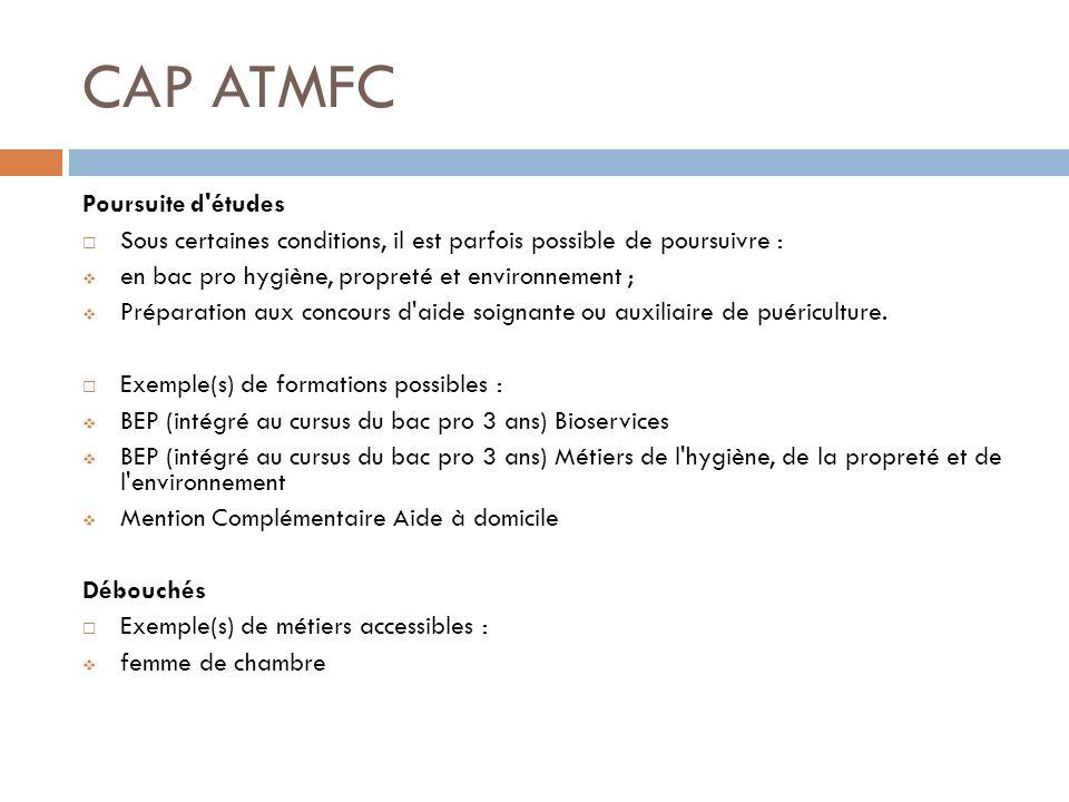 CAP ATMFC Poursuite d études