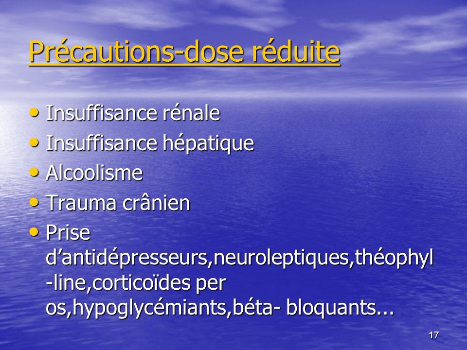 Précautions-dose réduite