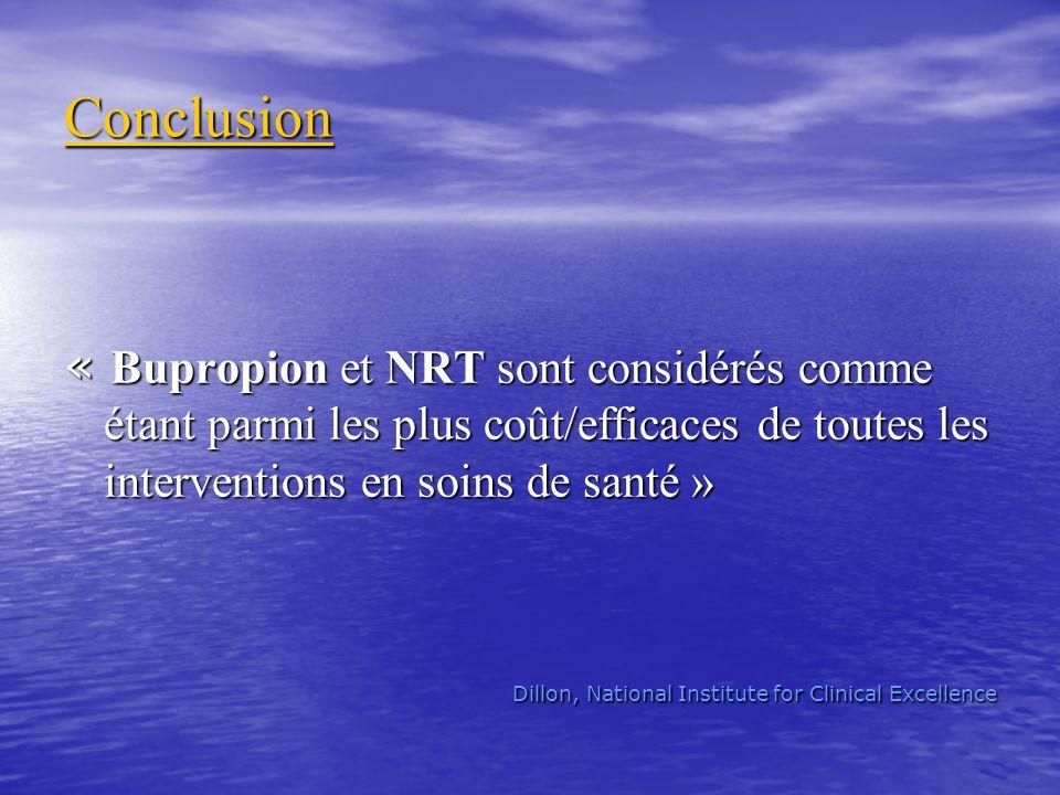 Conclusion « Bupropion et NRT sont considérés comme étant parmi les plus coût/efficaces de toutes les interventions en soins de santé »