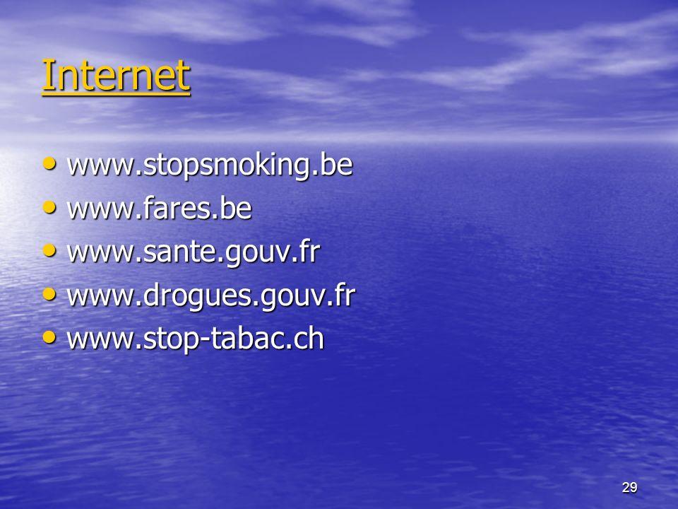 Internet www.stopsmoking.be www.fares.be www.sante.gouv.fr