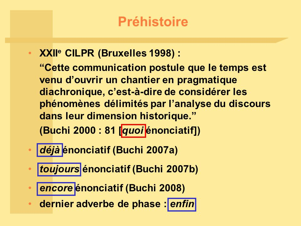Préhistoire XXIIe CILPR (Bruxelles 1998) :