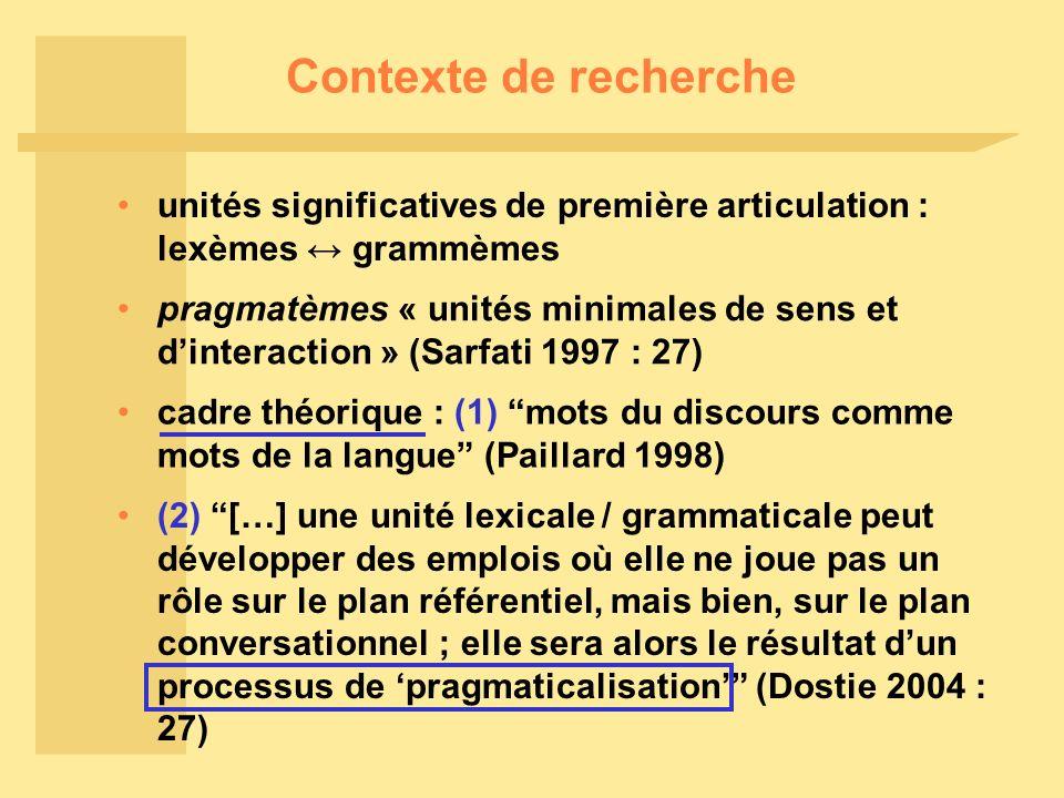 Contexte de recherche unités significatives de première articulation : lexèmes ↔ grammèmes.