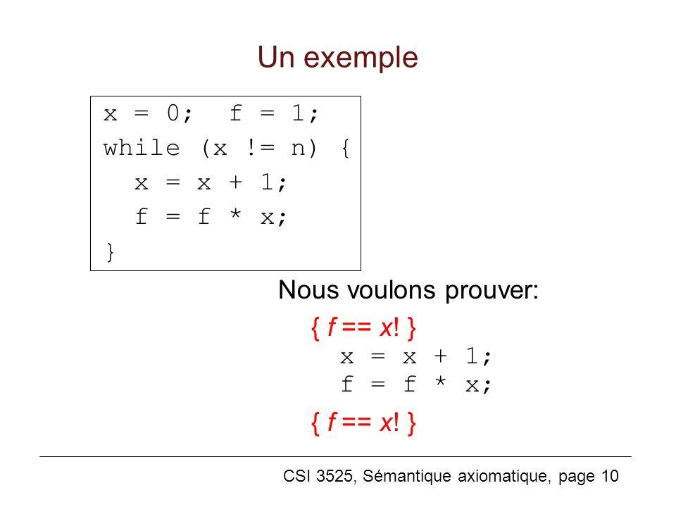 Un exemple x = 0; f = 1; while (x != n) { x = x + 1; f = f * x; }