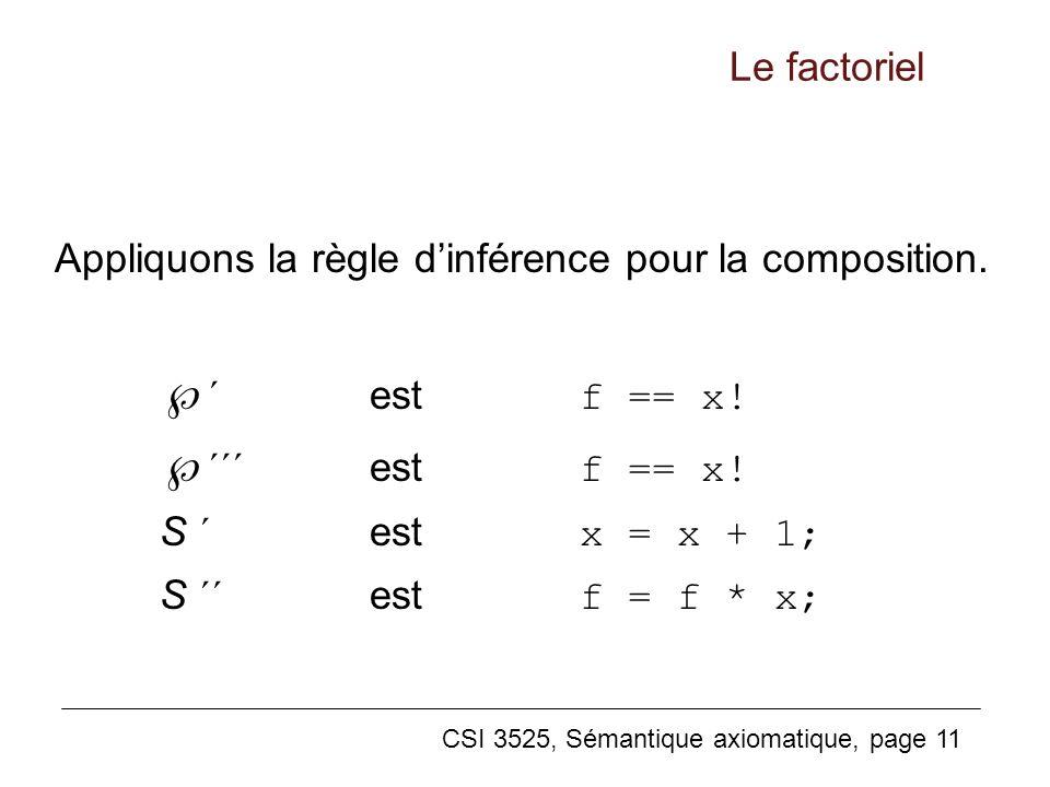 ´´´ est f == x! Le factoriel
