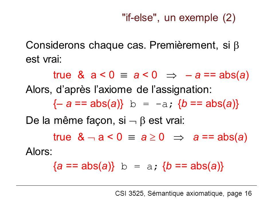 if-else , un exemple (2) Considerons chaque cas. Premièrement, si  est vrai: true & a < 0  a < 0  – a == abs(a)