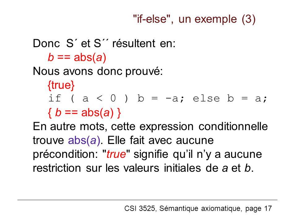 if-else , un exemple (3) Donc S´ et S´´ résultent en: b == abs(a) Nous avons donc prouvé: