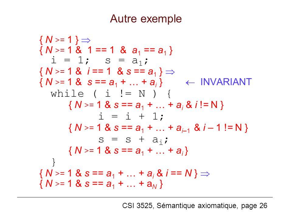 Autre exemple { N >= 1 } 