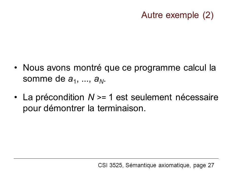 Autre exemple (2) Nous avons montré que ce programme calcul la somme de a1, ..., aN.