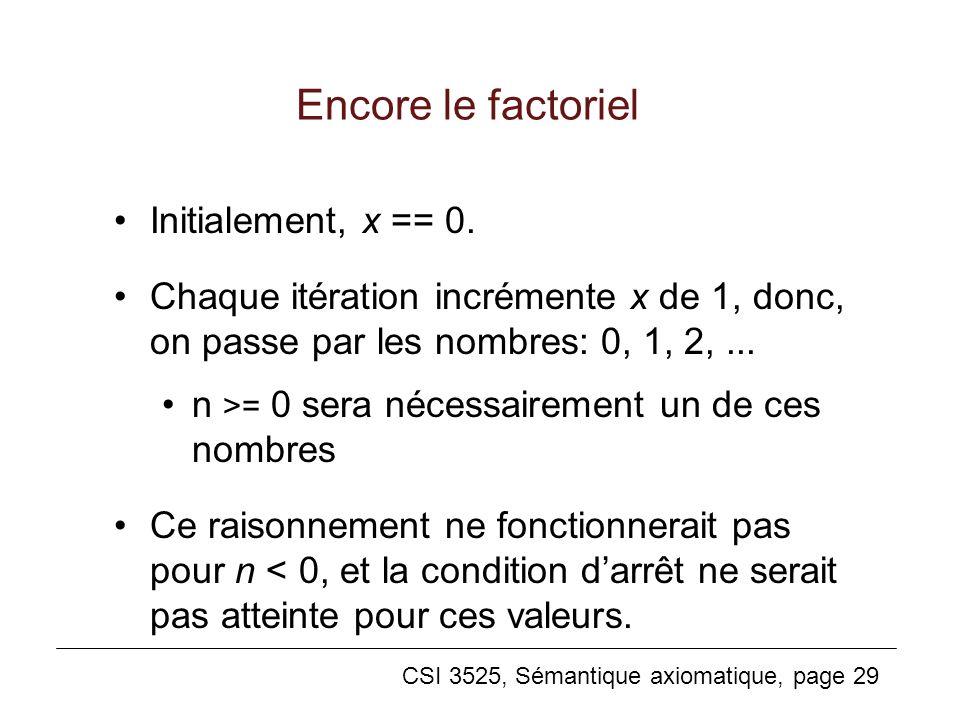 Encore le factoriel Initialement, x == 0.