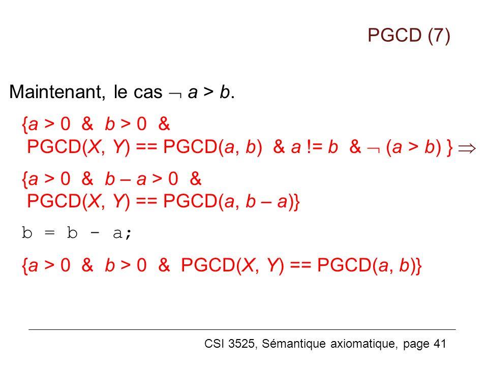 PGCD (7) Maintenant, le cas  a > b. {a > 0 & b > 0 & PGCD(X, Y) == PGCD(a, b) & a != b &  (a > b) } 