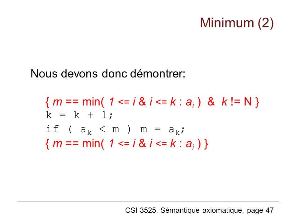 Minimum (2) Nous devons donc démontrer: