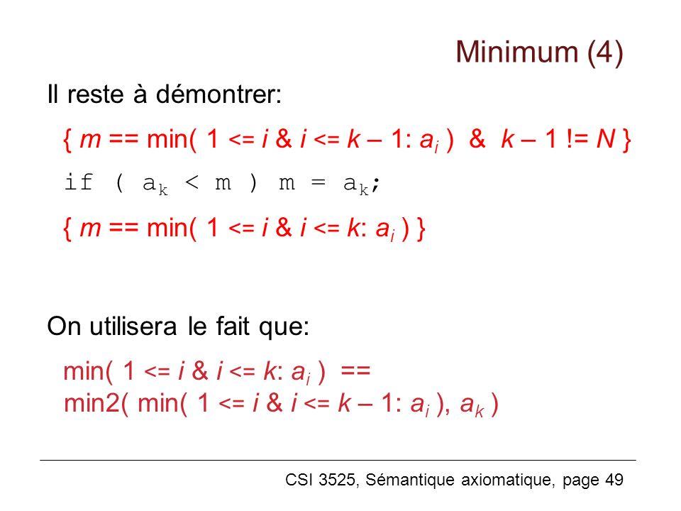 Minimum (4) Il reste à démontrer: