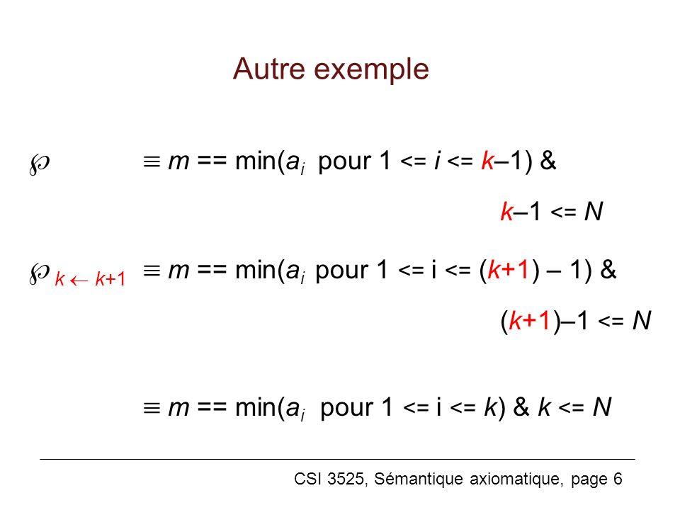   m == min(ai pour 1 <= i <= k–1) &