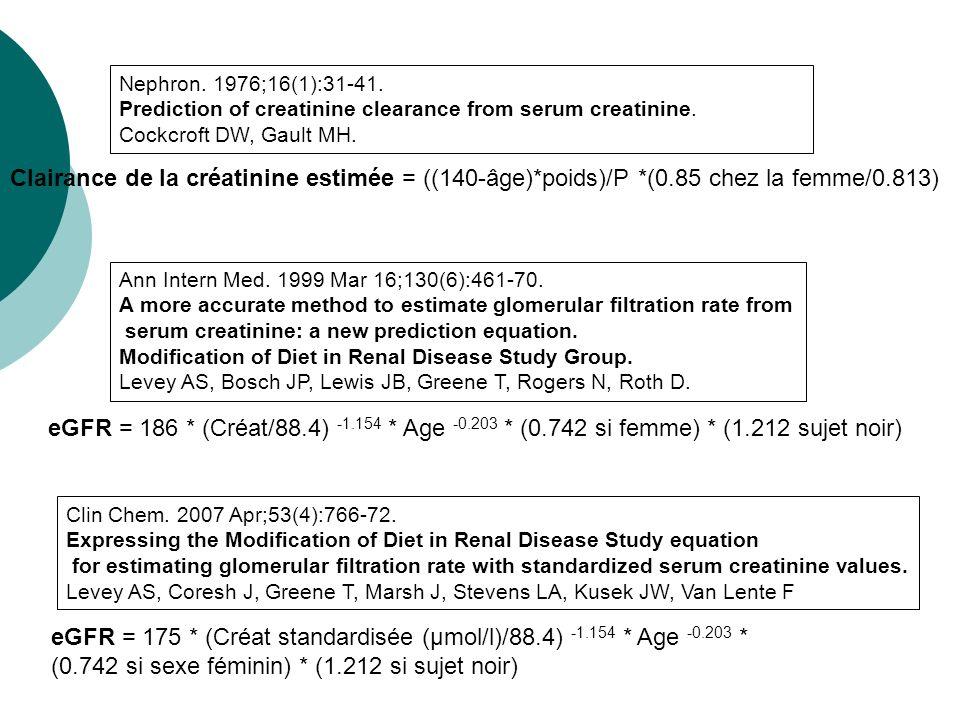 eGFR = 175 * (Créat standardisée (μmol/l)/88.4) -1.154 * Age -0.203 *
