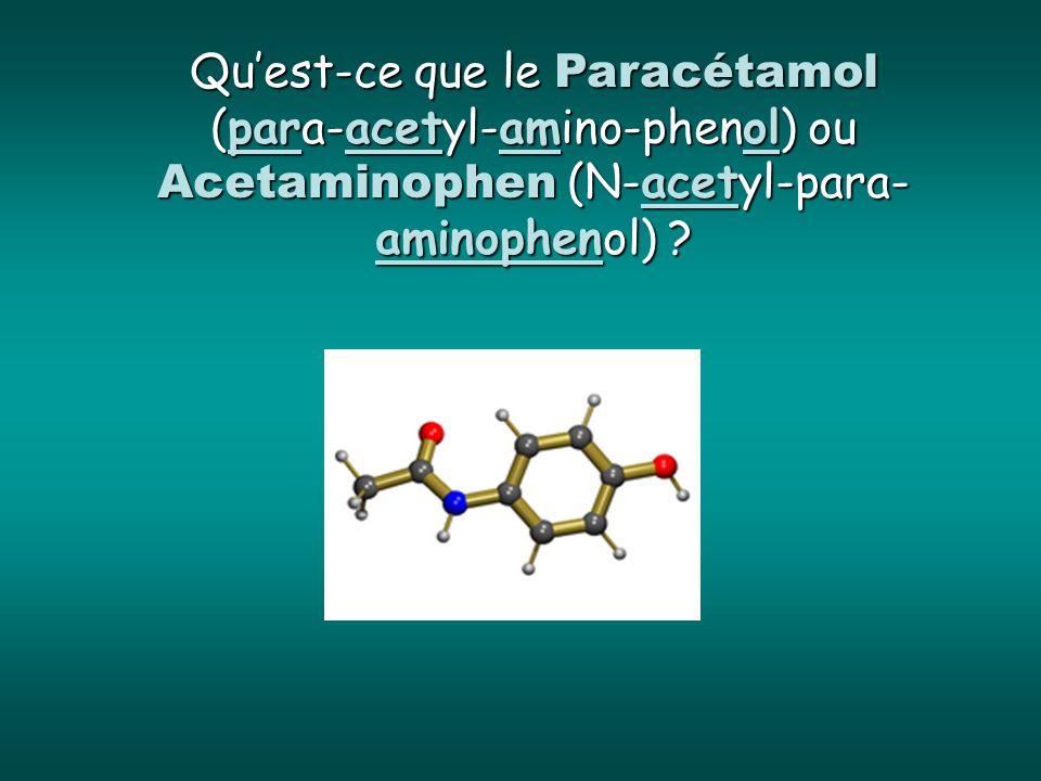 Qu'est-ce que le Paracétamol (para-acetyl-amino-phenol) ou Acetaminophen (N-acetyl-para-aminophenol)