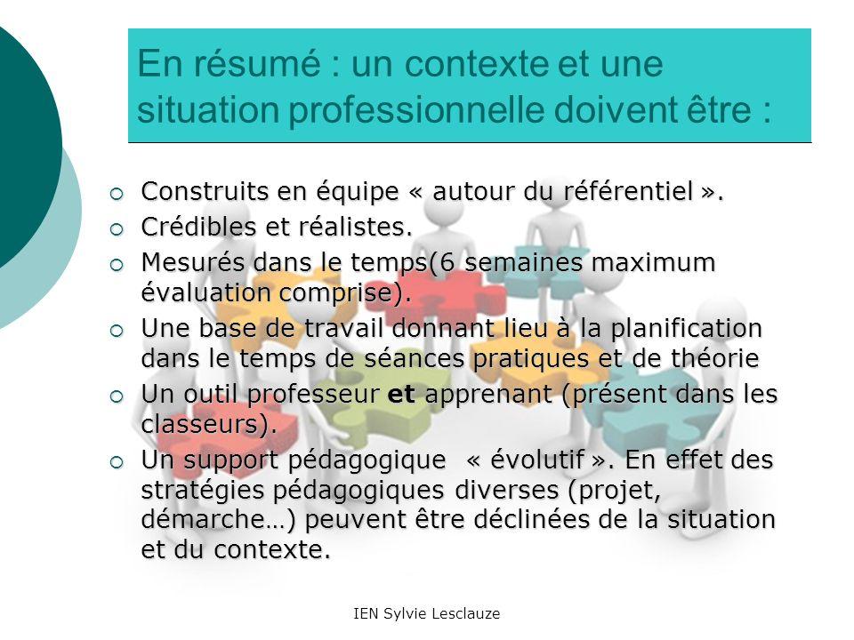 En résumé : un contexte et une situation professionnelle doivent être :