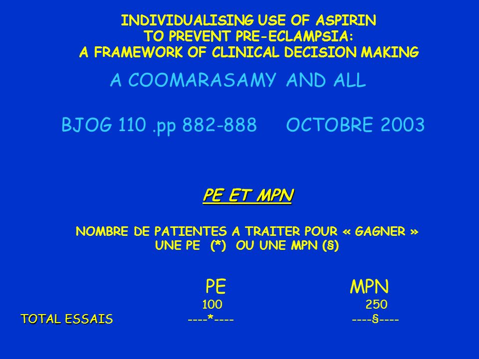 A COOMARASAMY AND ALL BJOG 110 .pp 882-888 OCTOBRE 2003 PE MPN