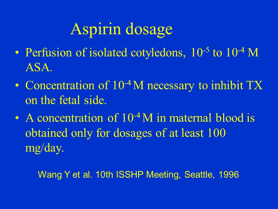Aspirin dosage Perfusion of isolated cotyledons, 10-5 to 10-4 M ASA.