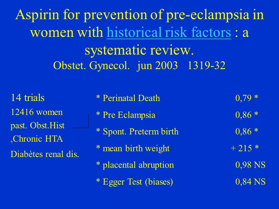 Aspirin for prevention of pre-eclampsia in women with historical risk factors : a systematic review. Obstet. Gynecol. jun 2003 1319-32