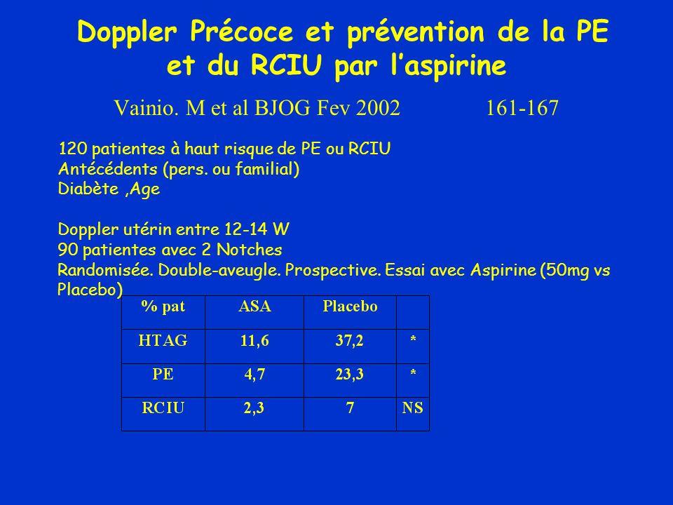 Doppler Précoce et prévention de la PE et du RCIU par l'aspirine