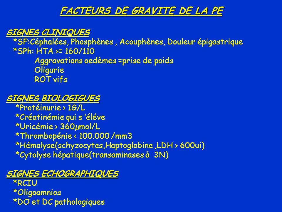 FACTEURS DE GRAVITE DE LA PE