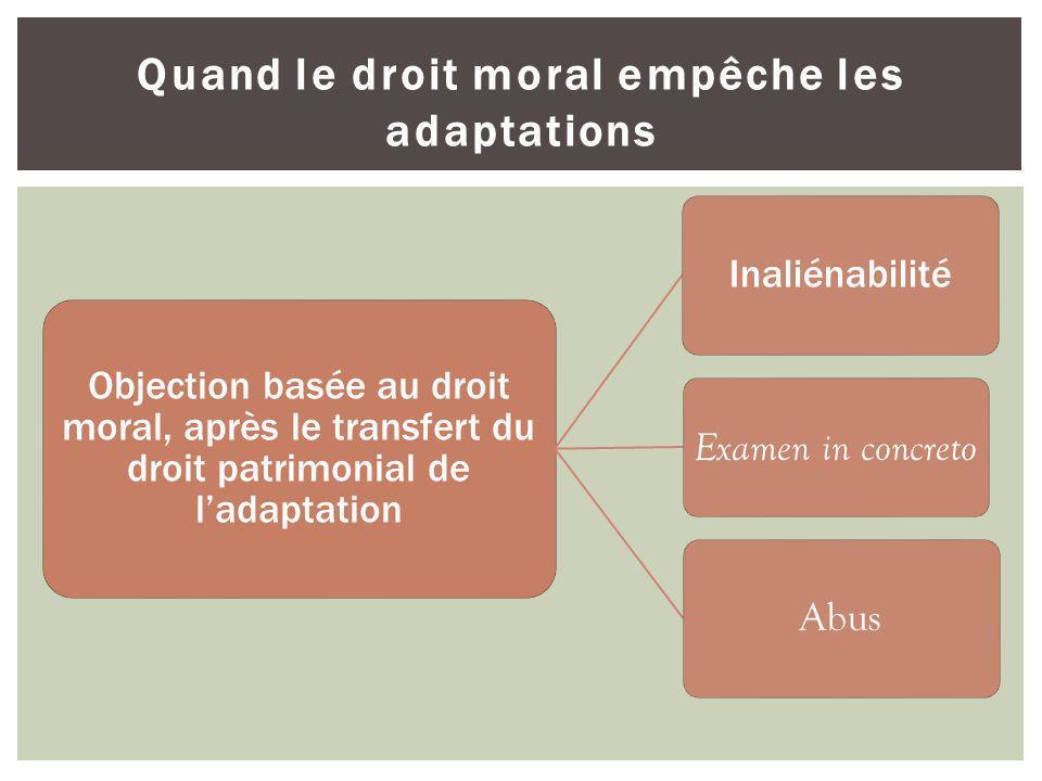 Quand le droit moral empêche les adaptations