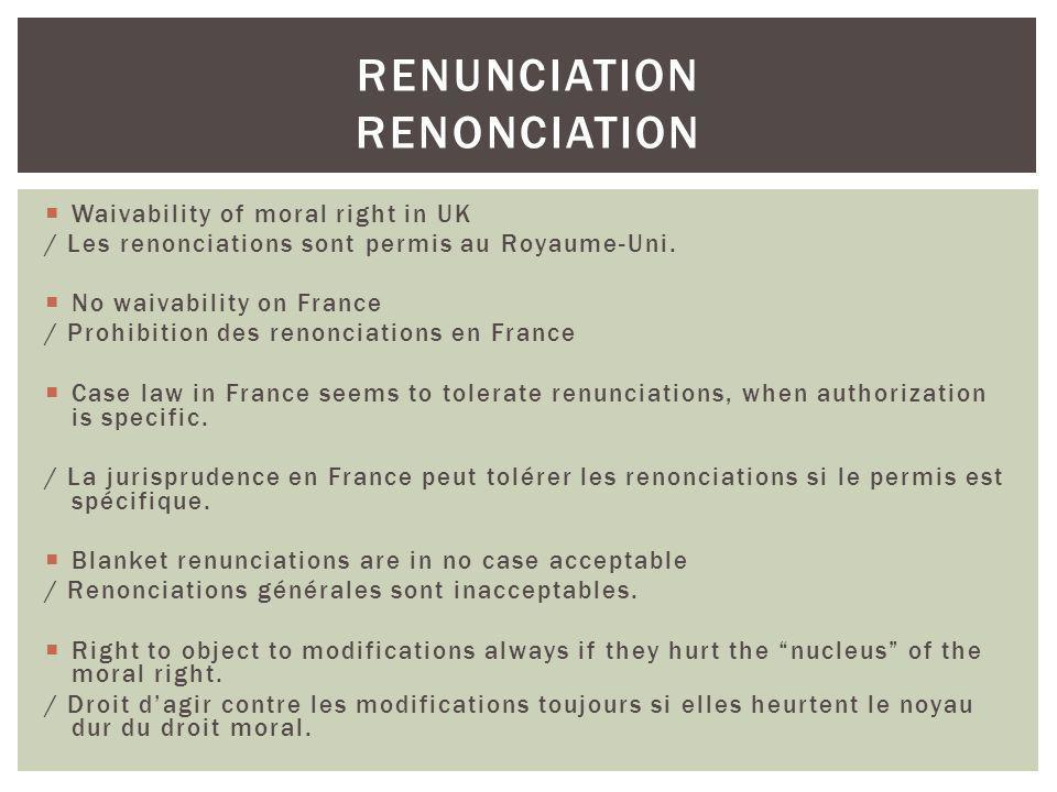 Renunciation renonciation