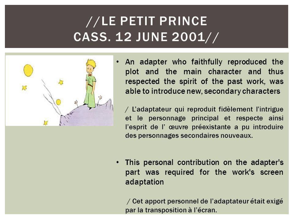 //Le petit prince cass. 12 June 2001//
