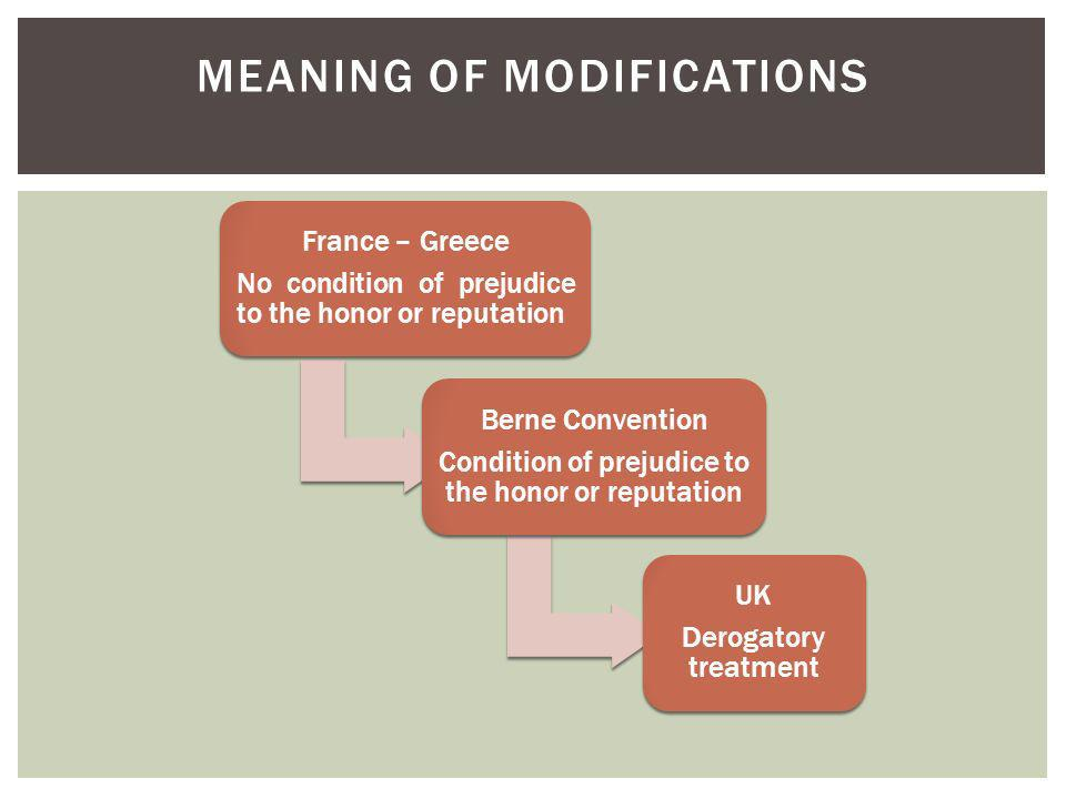 Meaning of modifications