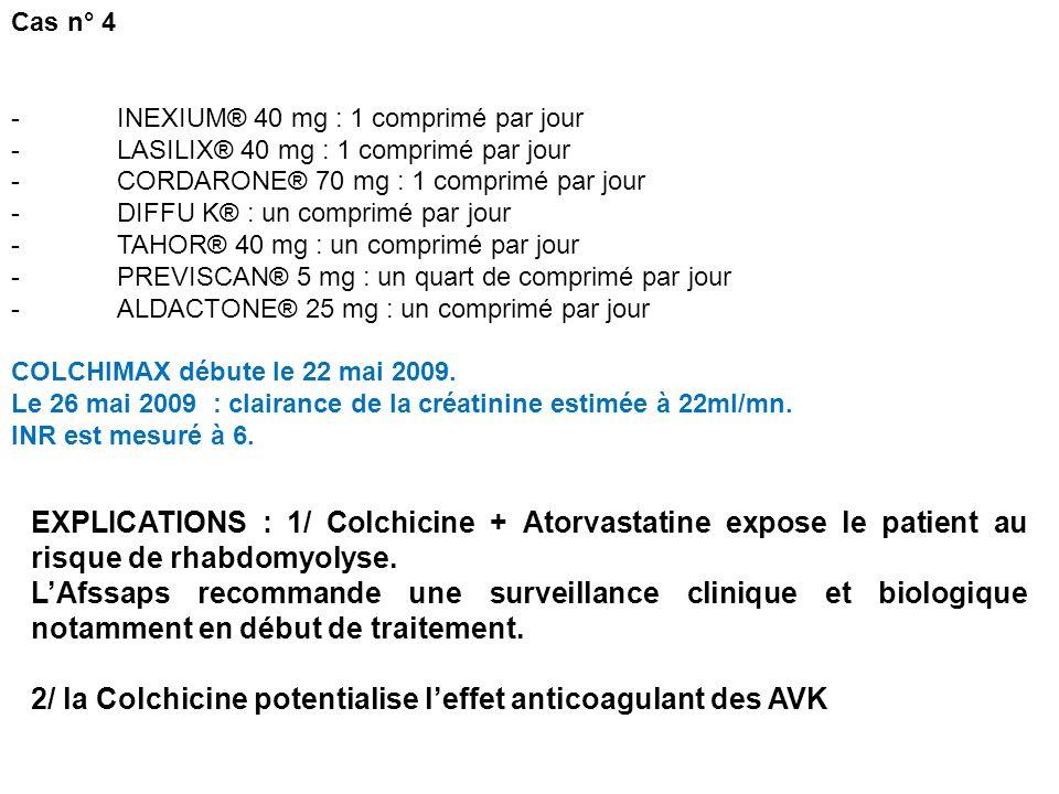 2/ la Colchicine potentialise l'effet anticoagulant des AVK