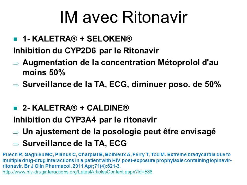 IM avec Ritonavir 1- KALETRA® + SELOKEN®