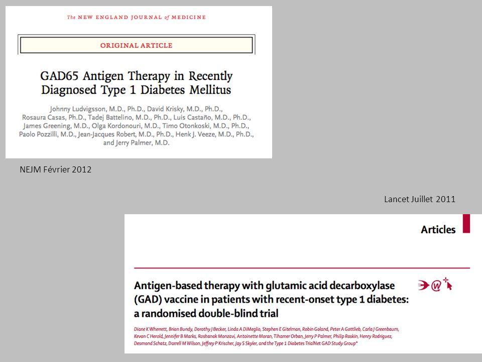 NEJM Février 2012 Lancet Juillet 2011 - 2ème : essai de phase III