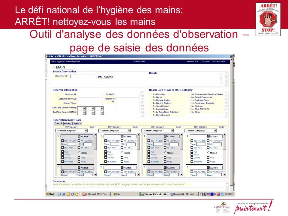 Outil d analyse des données d observation – page de saisie des données