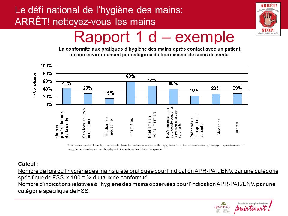 Rapport 1 d – exemple Calcul :