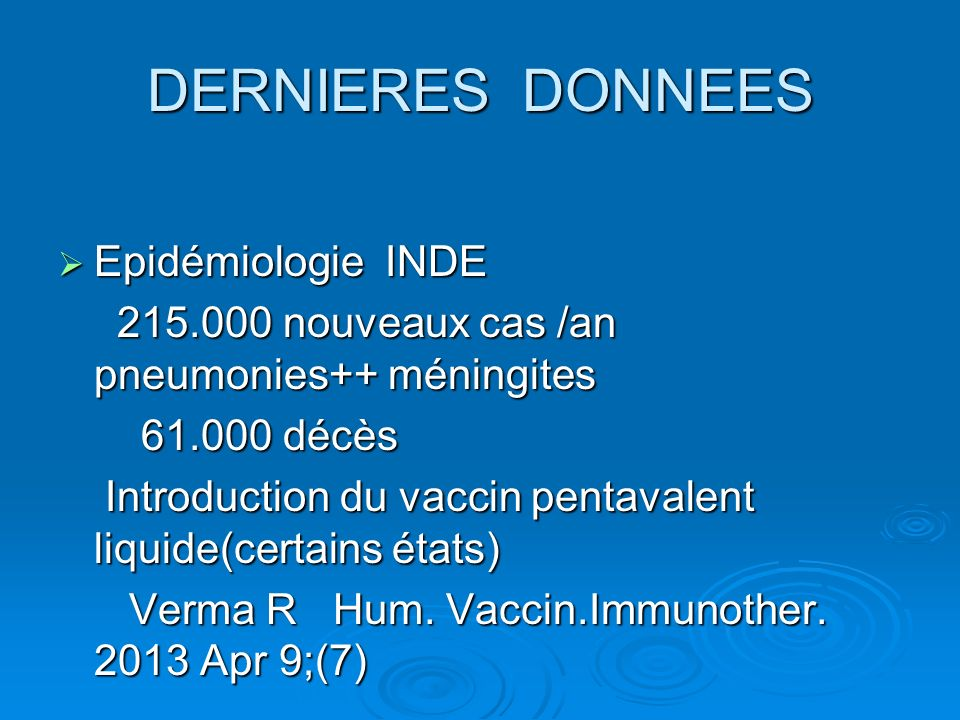 DERNIERES DONNEES Epidémiologie INDE